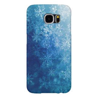 Brilliant Blue Snowflake Personalized Case Samsung Galaxy S6 Cases