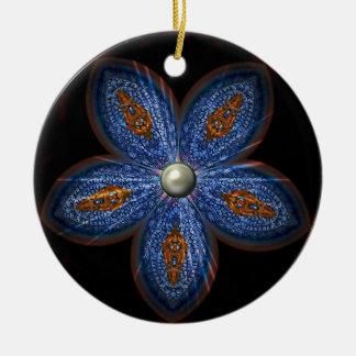 Brilliant Blues Batik Round Ceramic Decoration