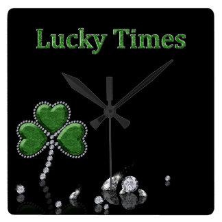 "Brilliant Diamond Shamrock ""Lucky Times"" - Clock"