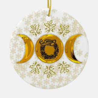 Brilliant Faux Gold Triple Moon & Holly Wreath Round Ceramic Decoration