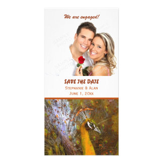 Brilliant Gold Peacock Wedding Personalized Photo Card