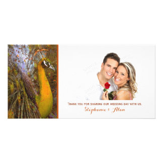 Brilliant Gold Peacock Wedding Thank You Customized Photo Card