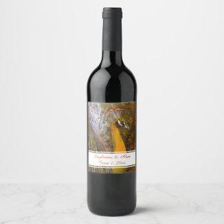 Brilliant Gold Peacock Wedding Wine Label