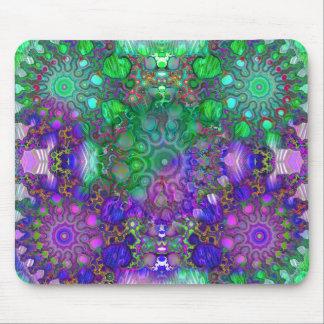 Brilliant Green and Purple Fractals Make Math Art Mouse Pad
