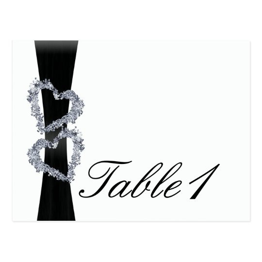 Brilliant Hearts: Black Ribbon and D Table Number Postcard