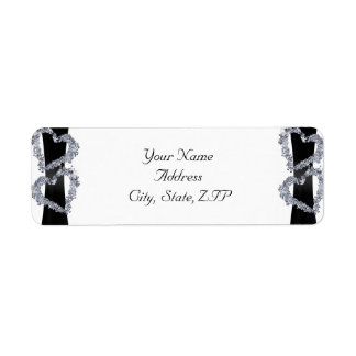 Brilliant Hearts: Black Ribbon and Diamond Hearts Return Address Label