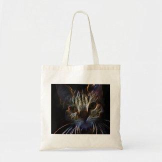 Brilliant Kitty Cat Shiny Fire Fractal Art Budget Tote Bag