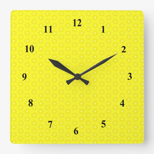 Brilliant Lemon Yellow Sunshine Stars Pattern Square Wall