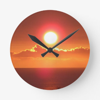 Brilliant Orange Sunset Sky Wall Clock