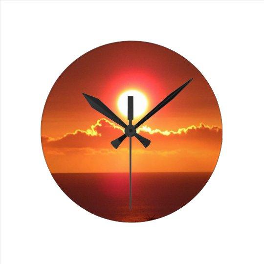 Brilliant Orange Sunset Sky Wall Clock