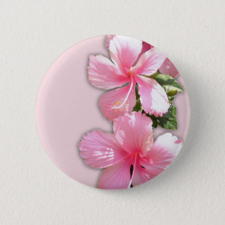 Brilliant Pink Hawaiian Hibiscus Flowers 6 Cm Round Badge