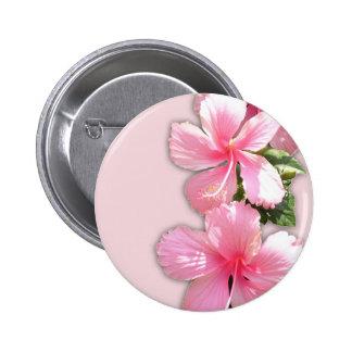 Brilliant Pink Hawaiian Hibiscus Flowers 6 Cm Round Badge