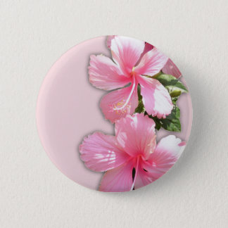 Brilliant Pink Hibiscus Flowers 6 Cm Round Badge
