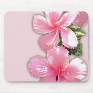 Brilliant Pink Hibiscus Flowers Mouse Mat
