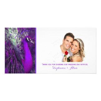 Brilliant Purple Peacock Wedding Thank You Card