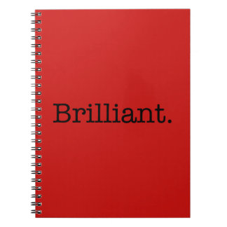 Brilliant Quote Poppy Red Trend Color Template Spiral Notebook