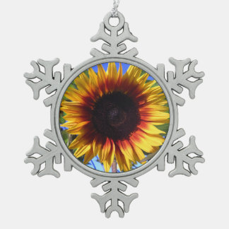 Brilliant Sunflower Snowflake Pewter Christmas Ornament