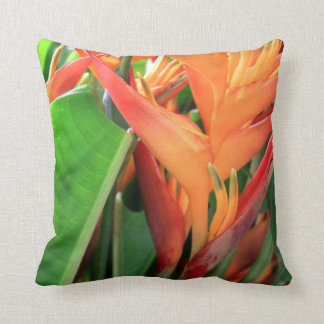 Brilliant Tropical Heliconia Florals Throw Pillows