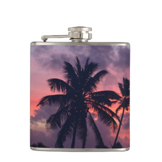 Brilliant Tropical Sunset Hip Flask