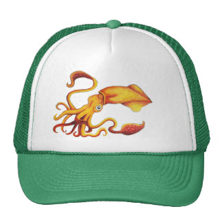 Brilliant Yellow Squid with Orange Tentacles Cap