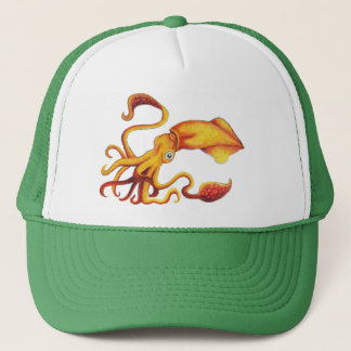 Brilliant Yellow Squid with Orange Tentacles Trucker Hat