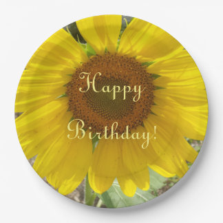 Brilliant Yellow Sunflower Birthday Paper Plate