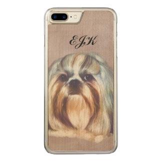 Brindle and White Shih Tzu Dog, Monogram Carved iPhone 7 Plus Case