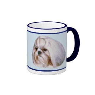 Brindle and White Shih Tzu Dog Ringer Coffee Mug