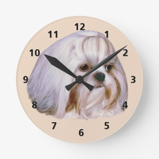 Brindle and White Shih Tzu Dog Round Clock
