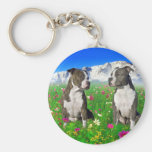 Brindle & Blue Staffordshire & Pit Bull Dogs Basic Round Button Key Ring