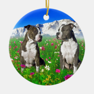 Brindle & Blue Staffordshire & Pit Bull Dogs Round Ceramic Decoration