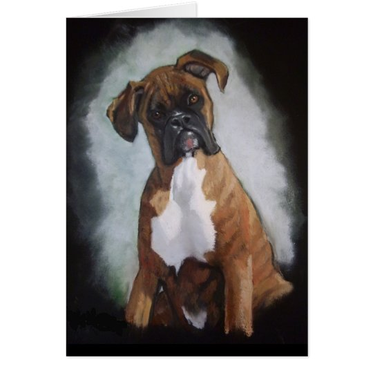 Brindle Boxer Dog in Oil Pastel: Cute Animal Art Card