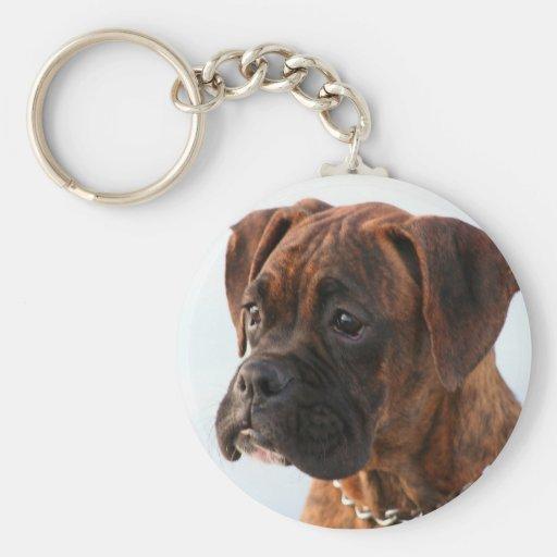 Brindle boxer puppy keychain