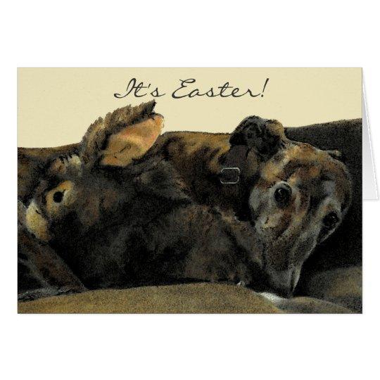 Brindle Greyhound & Bunny Easter Card