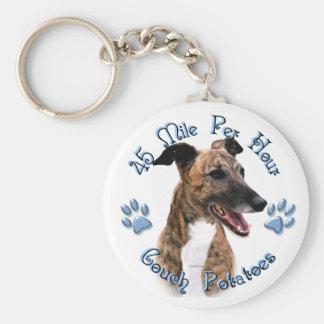 Brindle Greyhound Couch Potato Basic Round Button Key Ring