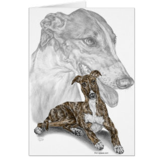 Brindle Greyhound Dog Art Card