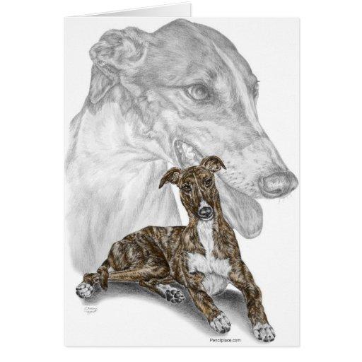 Brindle Greyhound Dog Art Greeting Cards