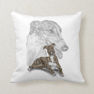 Brindle Greyhound Dog Art Cushion