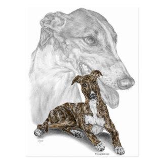 Brindle Greyhound Dog Art Postcard
