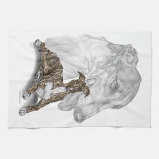 Brindle Greyhound Dog Art Tea Towel