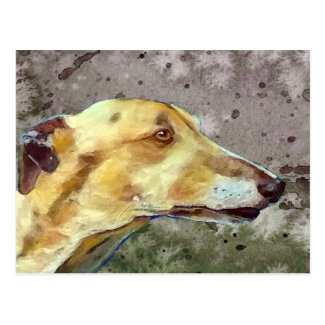 Brindle greyhound postcard (a341) title=