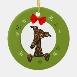 Brindle Greyhound Whippet Christmas Classic Christmas Ornament