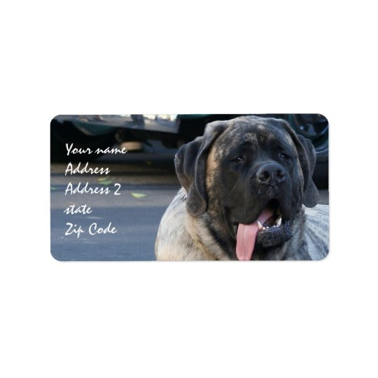 Brindle Mastiff Dog Label