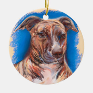 Brindle Pit Bull Dog Christmas Ornament
