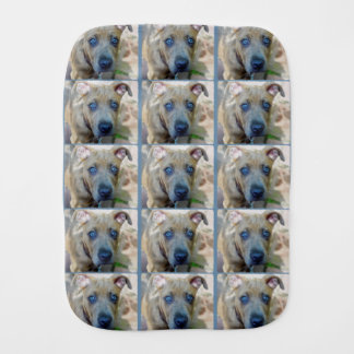 Brindle Pit Bull Puppy by Shirley Taylor Baby Burp Cloths