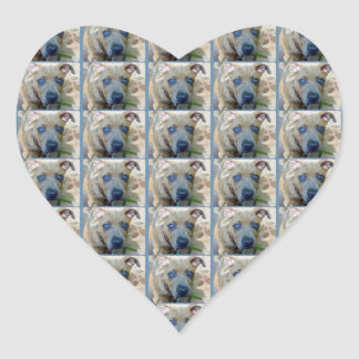 Brindle Pit Bull Puppy by Shirley Taylor Heart Sticker