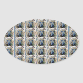 Brindle Pit Bull Puppy Oval Sticker