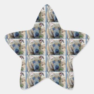 Brindle Pit Bull Puppy Star Sticker