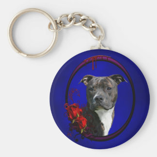 Brindle pitbull with roses key ring