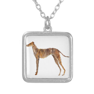 Brindle Watercolour Abstract Painting of Greyhound Square Pendant Necklace
